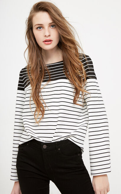 Vero Moda Striped Flared Sleeves Stretch Tops|318102503, White, large