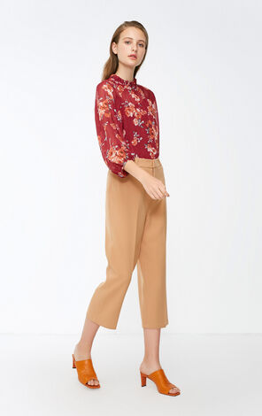 Vero Moda 2018 Winter Printed V Neckline 3/4 Sleeves Chiffon Tops