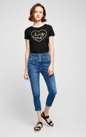 Vero Moda Ribbed Crew Neck Letter Print SS T-Shirt|317201517