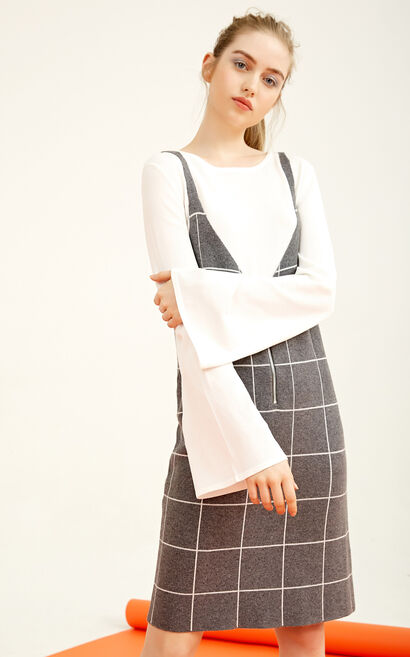 Vero Moda Two-piece Plaid Knitted Dress|317446518, Grey, large