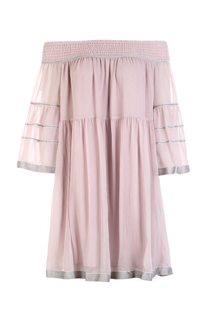 Vero Moda 2019 spring new style boat neck loose chiffon ins super fairy dress |31817C509, Pink, large