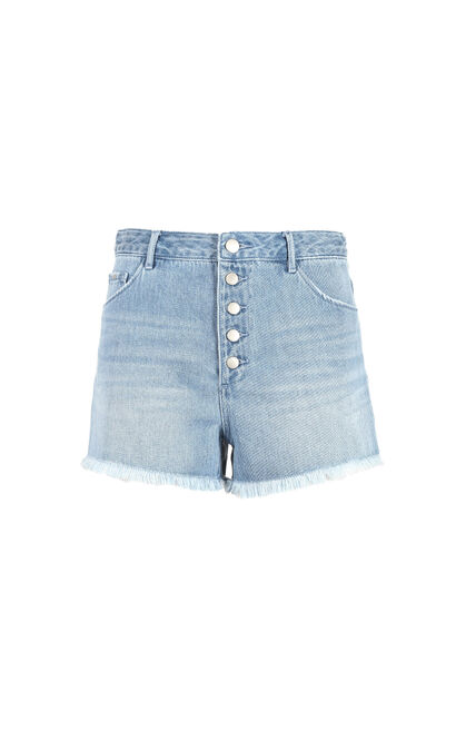 Vero Moda 2019 new button frayed hem high waist jeans |319243518, Blue, large