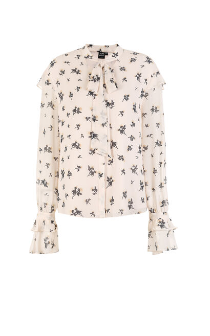 Vero Moda Floral Ruffle Tie-up Two-layer Chiffon Shirt  |317405509, White, large