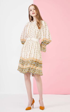 Vero Moda Floral Pleat Lace-up 3/4 Sleeves Dress|31937C543