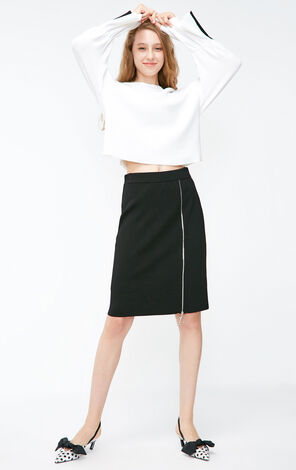 Vero Moda 2018 Winter OL Style Zipped Elastic Waist Skirt