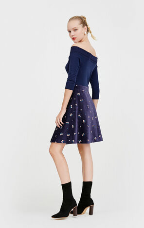 Vero Moda Turn-down Collar 3/4 Sleeves Floral Embroidery Knitted Dress|31747C509
