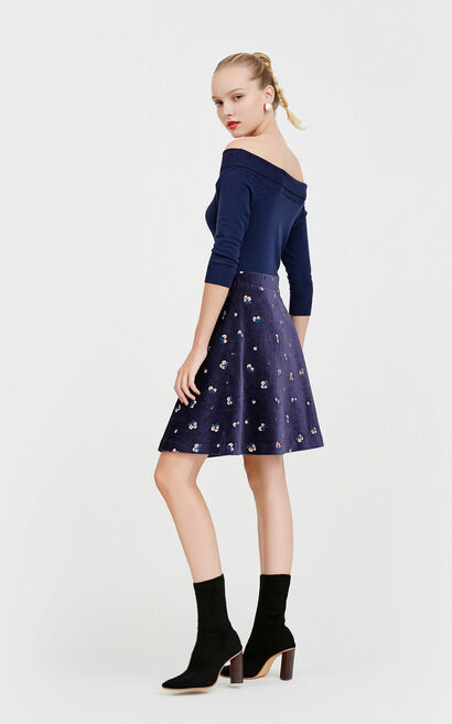 Vero Moda Turn-down Collar 3/4 Sleeves Floral Embroidery Knitted Dress|31747C509, Blue, large