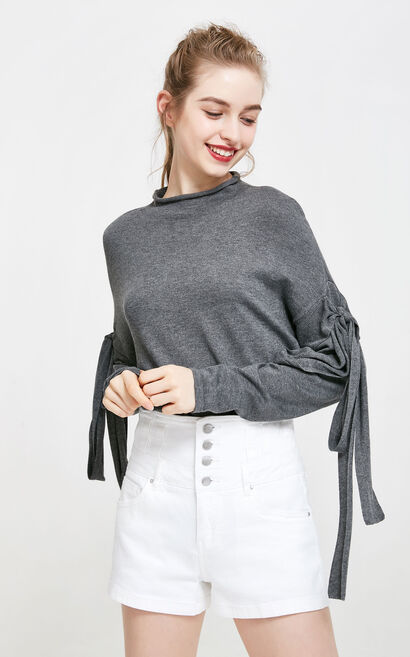 Vero Moda Lace-up Sleeves Knitted Tops|317424515, Grey, large