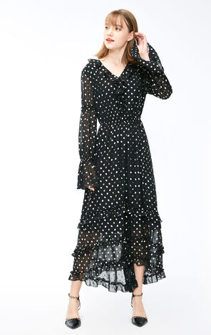 Vero Moda 2019 Spring New Golden Pattern Flare Sleeves See-through Chiffon Dress|31917D507