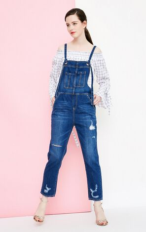 Vero Moda Ripped Crop Denim Overalls|318264502