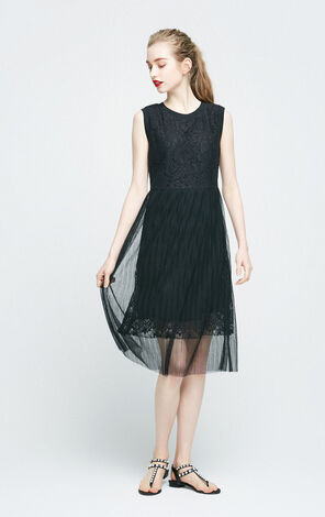 Vero Moda Spliced Lace Pleated Dress|31737A522