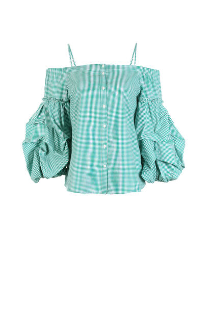 Vero Moda Women's Plaid Puff Sleeves Off-the-shoulder Straps Tops|318131518, Green, large