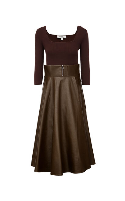 Vero Moda Women's Mid-length Knitted PU Spliced A-lined Dress|31937C534, Coffee, large