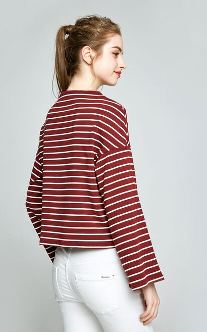Vero Moda Women's Striped Flared Sleeves Knit 317402506, Apricot, large
