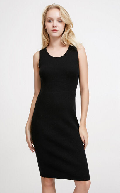 Vero Moda Layered Design Two-piece Knitted Dress|317446517, Black, large