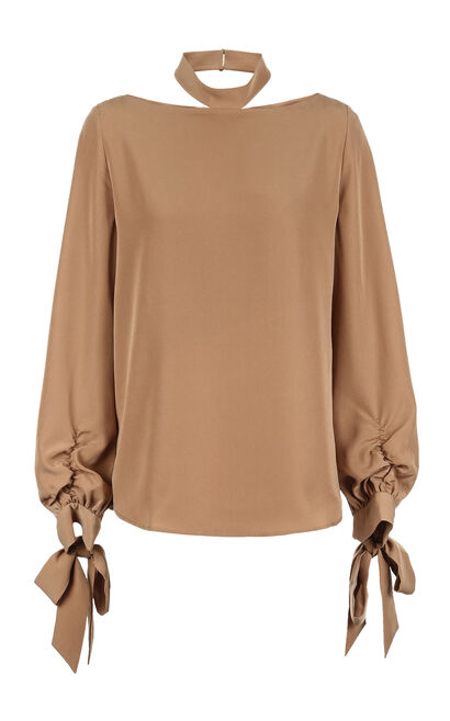 Vero Moda 2019 Spring New Women's Lace-up Cuffs Two-tiered Fabric Chiffon Shirt|319151503, Brown, large