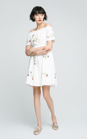 Vero Moda Embroidery Print Off-shoulder Boat Neck Dress|31737B552