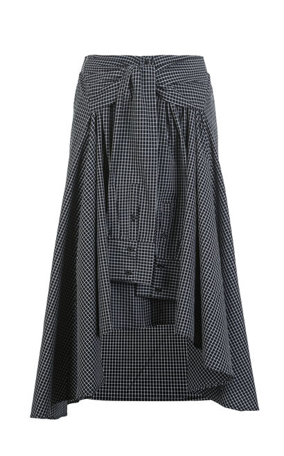 Vero Moda Elasticized Waist Irregular Hem Plaid Skirt|318216528, Black, large