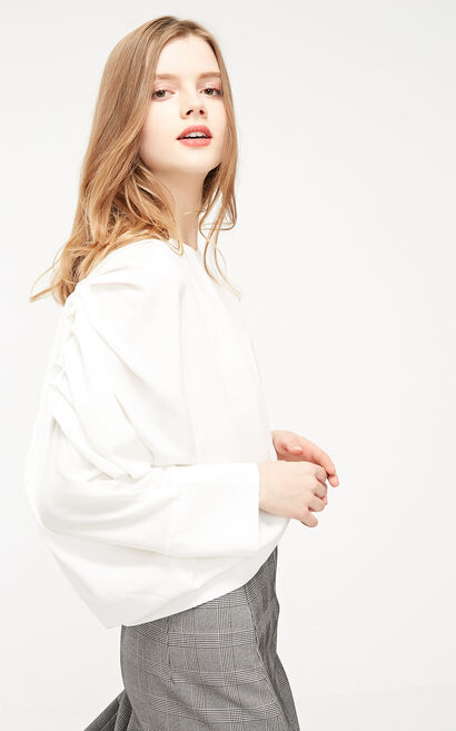 Vero Moda 2019 Pleated 3/4 Batwing Sleeves Chiffon Tops|319258502, White, large
