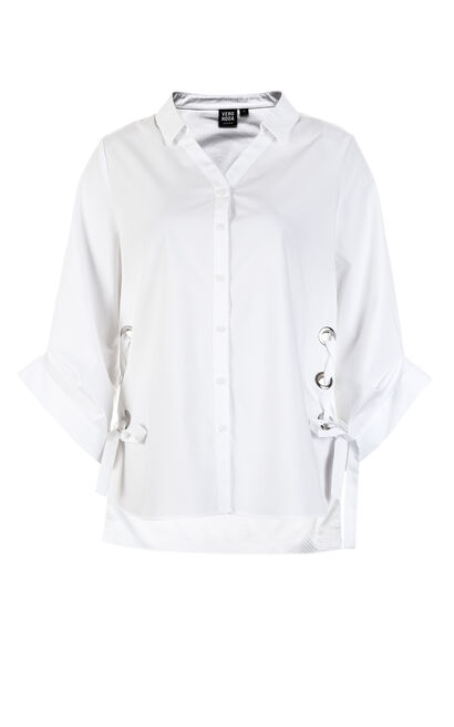 Vero Moda Lace-up Side Pleated Hemline 3/4 Sleeves Casual Shirt|318231543, White, large