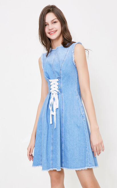 Vero Moda Zipped Raw-edge Lace-up Denim Dress|318242520, Lake Blue, large