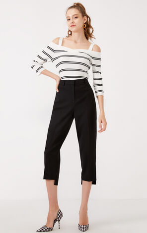 Vero Moda 2019 Autumn & Winter High-rise Irregular Cuffs Capri Pants  31946J506