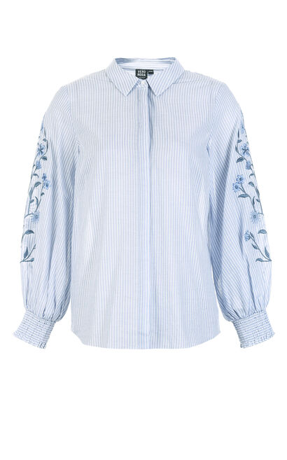 Vero Moda Women's Balloon Sleeves Embroidered Pattern Striped Shirt|318231555, Aqua, large