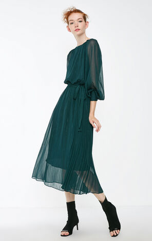 Vero Moda 2018 new winter drop shoulder asymmetrical wrinkled dress|31847D502