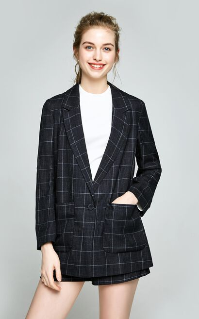 Vero Moda  spring new simple British style pattern one-button casual suit|318108503, Black, large
