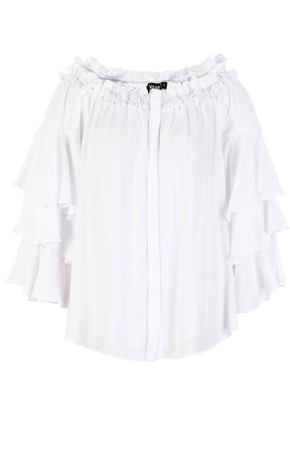Vero Moda Women's Loose Fit Ruffled Sleeves Boat Neck Shirt|318231504, White, large