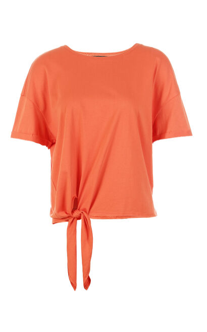 Vero Moda Women's Loose Fit 100% Cotton Lace-up Short-sleeved T-shirt|318201591, Red, large