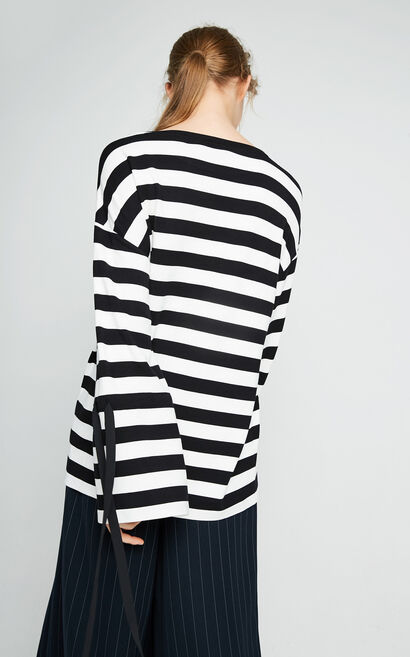 Vero Moda Black and White Stripes Lace-up Cuffs Leisure Tops|317402502, Black, large