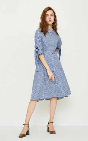 Vero Moda 100% Cotton Plaid Elbow Sleeves A-line Shirt Dress|31826W503