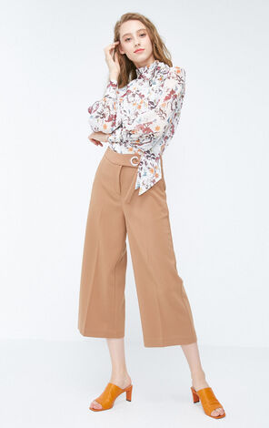 Vero Moda 2018 Autumn Metal Ring Wide-leg Capri Pants