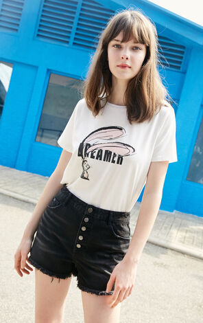 Vero Moda 2019 new alphabet animal print T-shirt |319201562