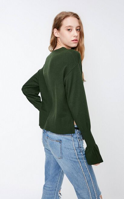 Vero Moda Women's Round Neck Flared Sleeves Split Knit | 318324540, Army Green, large