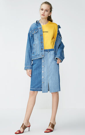 Vero Moda 2019 Spring New 100% Cotton Letter Pattern Denim Coat