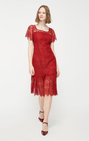 Vero Moda T-shaped Lace Split Mid-length A-lined Dress|31937B524