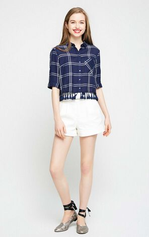 Vero Moda Check Fringe Two-way Sleeve Linen Short Shirt|31726W510