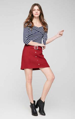 Vero Moda Striped Two-tiered Boat Neck 3/4 Sleeves Stretch T-shirt|317130503