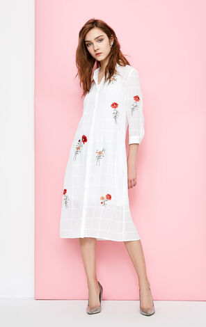 Vero Moda Embroidered Pattern 3/4 Sleeves Midi Shirt Dress|318231510