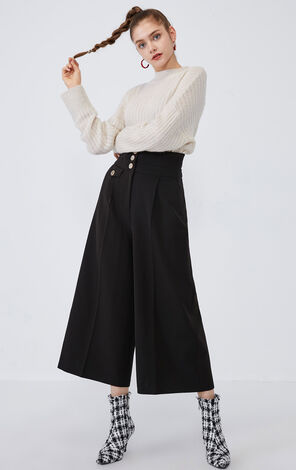 Vero Moda 2019 Women's Autumn & Winter High-rise Metal Buttons Wide-leg Capri Pants 31946J505