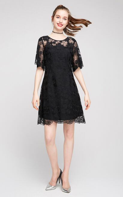 Vero Moda Women's Flared Elbow Sleeves Lace Dress|31726Z518, Black, large