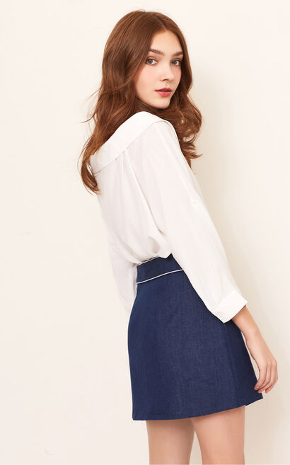 APPLE HW DENIM SKIRT(NC), Blue, large