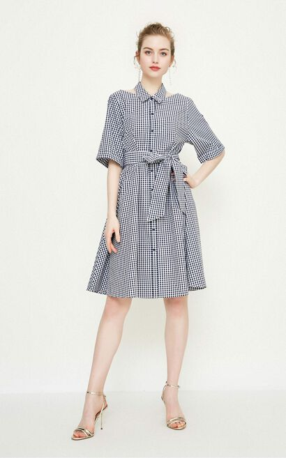 Vero Moda Plaid Detachable Collar Elbow Sleeves 100% Cotton A-lined Dress|31826Z539, Blue, large