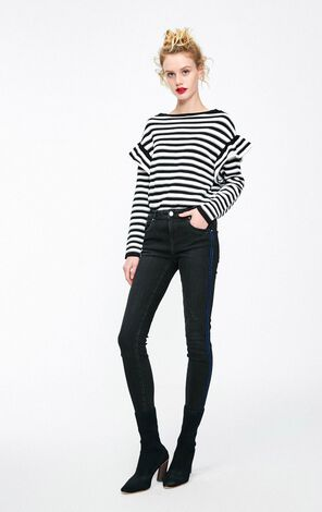 Vero Moda 2019 Women's Striped Side Seam Low-rise Crop Jeans|319149502