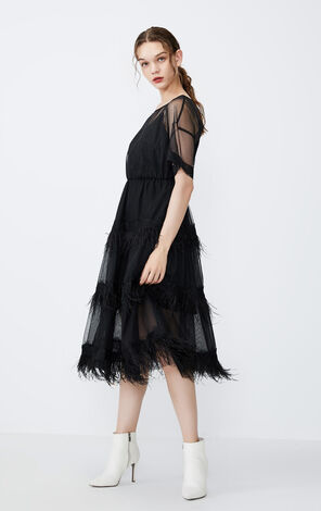 Vero Moda Decorative Feather Lace Gauzy Dress|31937B530