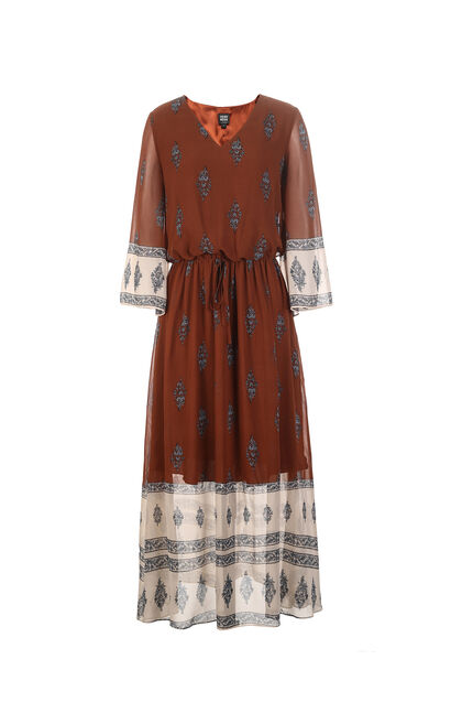 Vero Moda Printed Assorted Colors V-neckline 3/4 Sleeves Dress|31827C522, Dark Brown, large