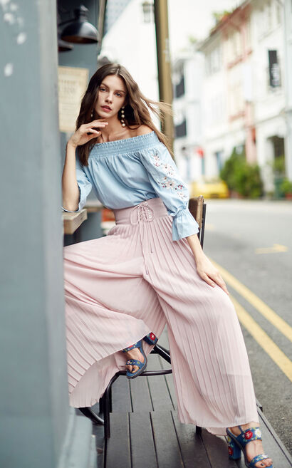 Vero Moda Tie-up Wide Waistband Pleated Wide-leg Cropped Pants|318150518, Pink, large