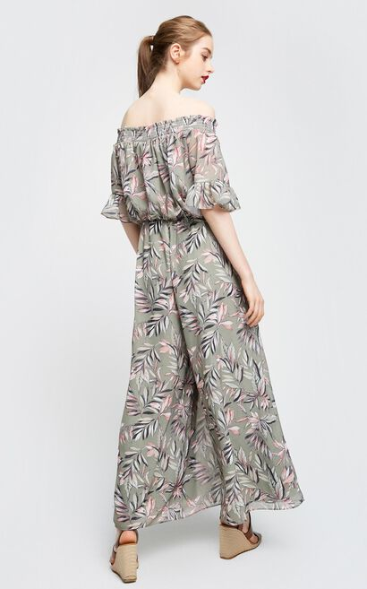 Vero Moda Women's Boat Neck Petal Sleeves Printed Wide-leg Crop Jumpsuit | 317244516, Army Green, large